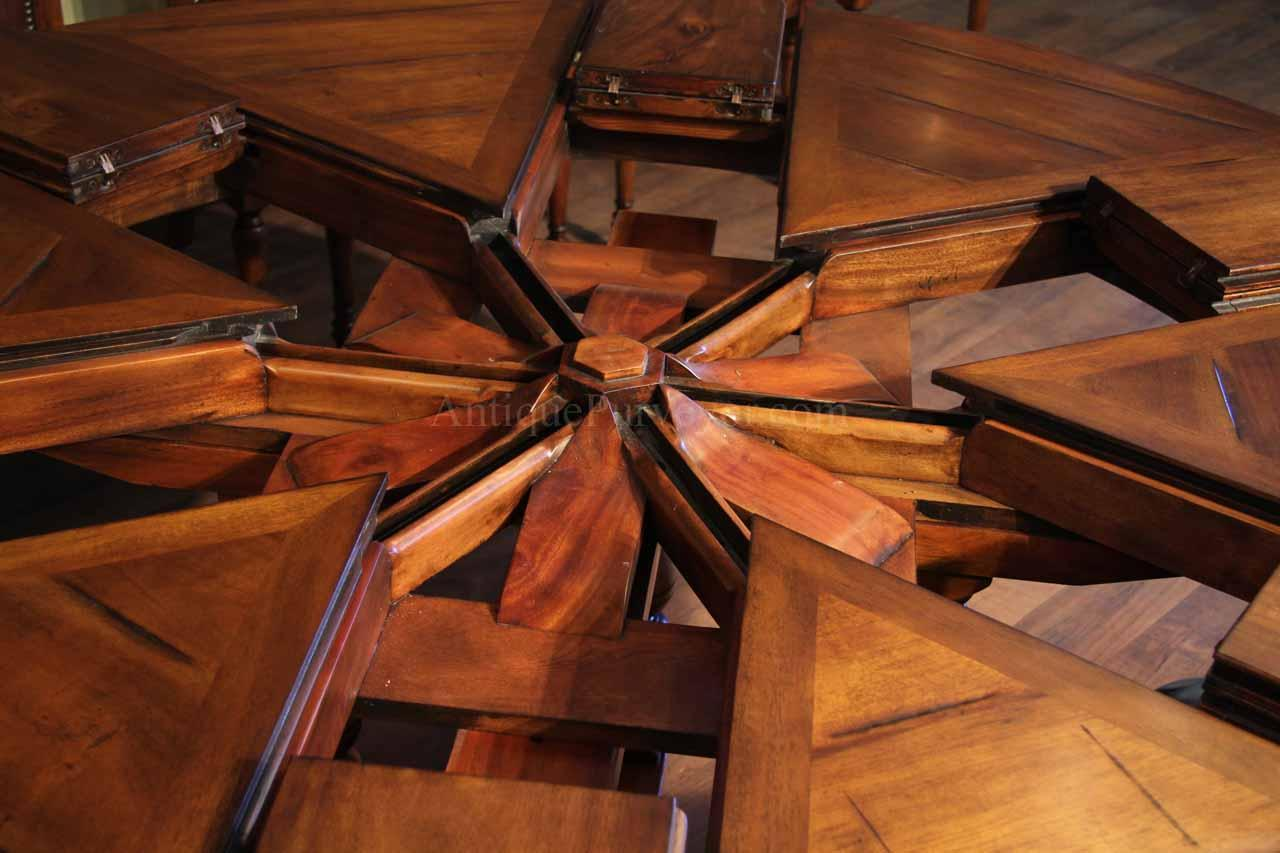 64 84 Round Solid Walnut Dining Jupe Table With Leaves Tables Self Storing