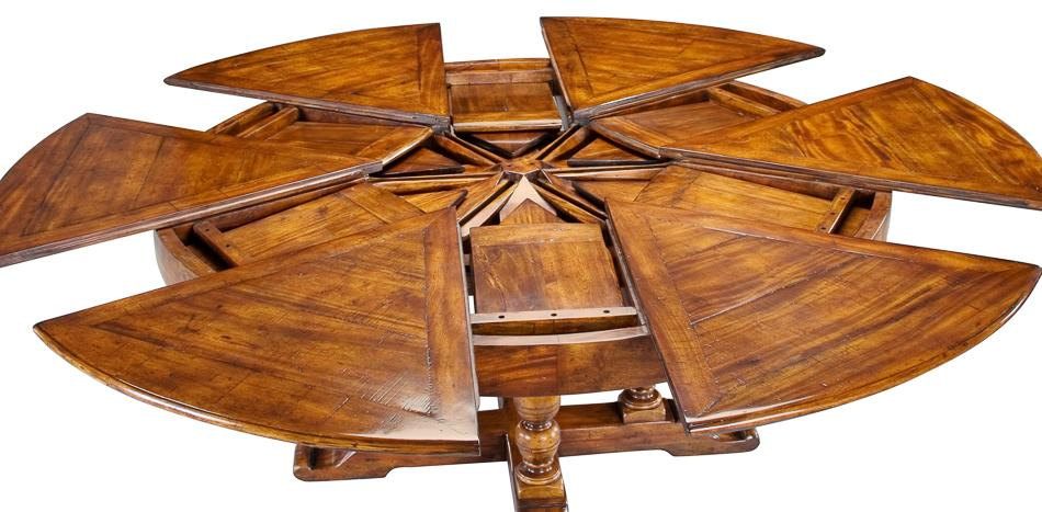 64 84 Round Solid Walnut Dining Table With Hidden Leaves