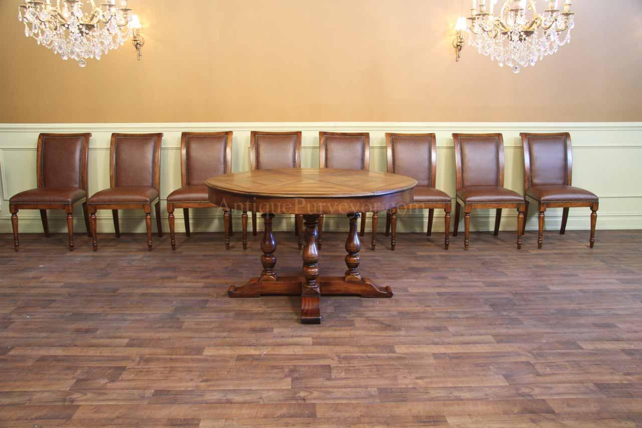 large round solid walnut dining table with hidden leaves 64 to 84 country. Black Bedroom Furniture Sets. Home Design Ideas