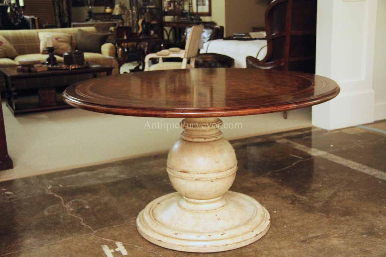 54 Inch Round Country Kitchen Table With Distressed Painted Pedestal