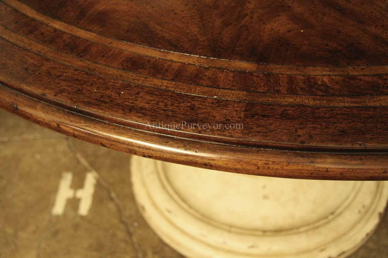 Round Country Wood Table And Painted Pedestal Base For Kitchen - 54 inch round table pad