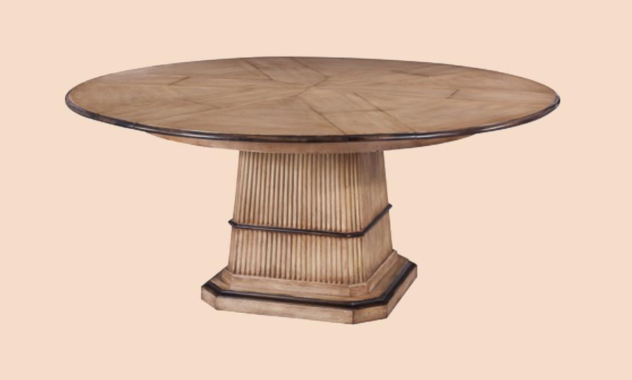 Tropical Round to Round Dining Table Blonde and Black Finish : 64 to 84 round to round expandable table with self storing leaves 12740 from antiquepurveyor.com size 893 x 537 jpeg 25kB
