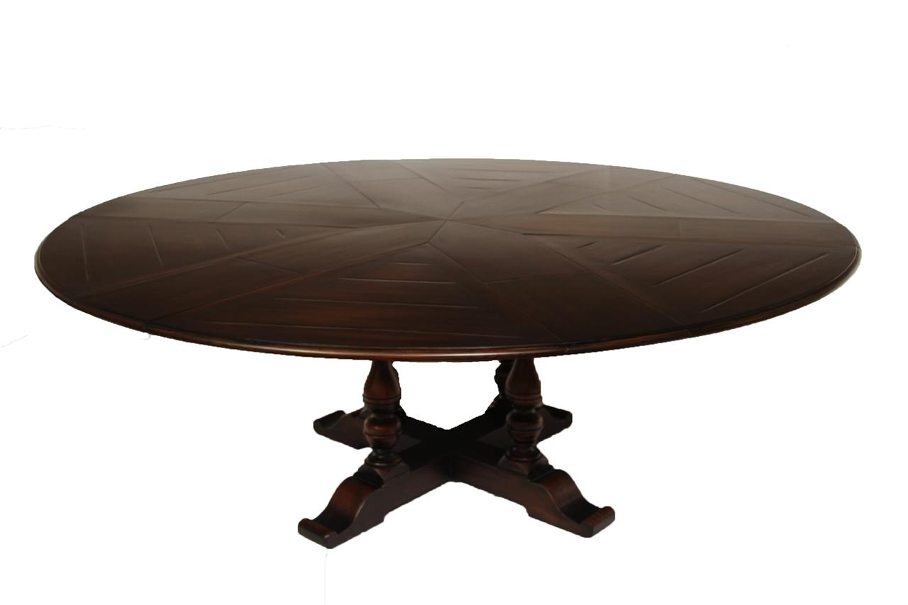 Country Jupe Table Solid Walnut Ebony Finish 64 84 Inches Round
