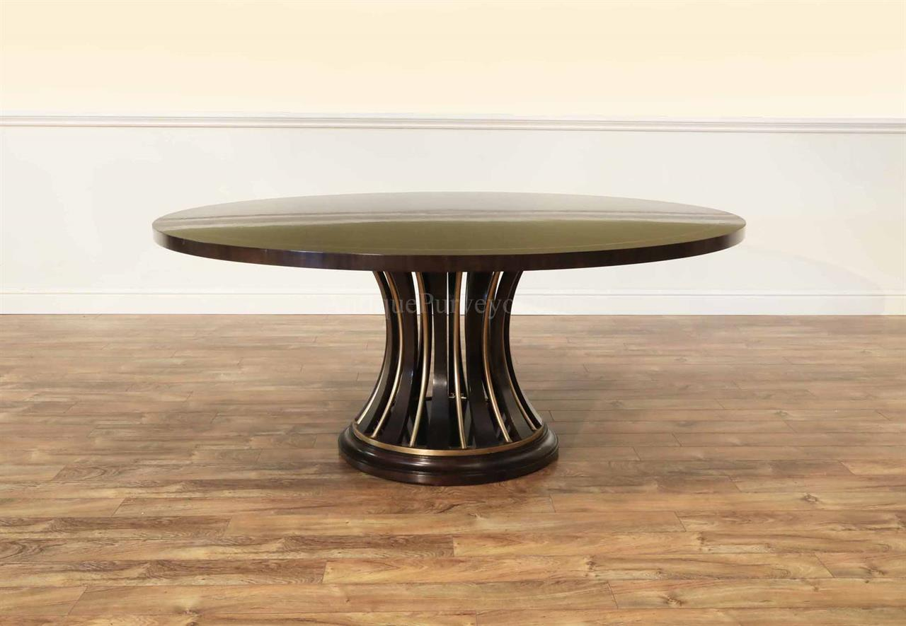 71 Inch Modern Rosewood And Ebony Round Pedestal Table Dining