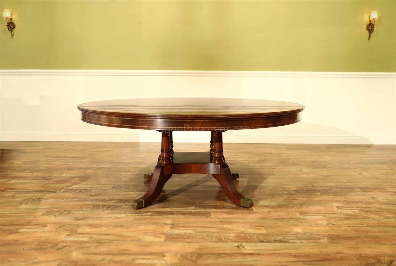 72 inch Round Mahogany Table, Large Traditional Pedestal Table