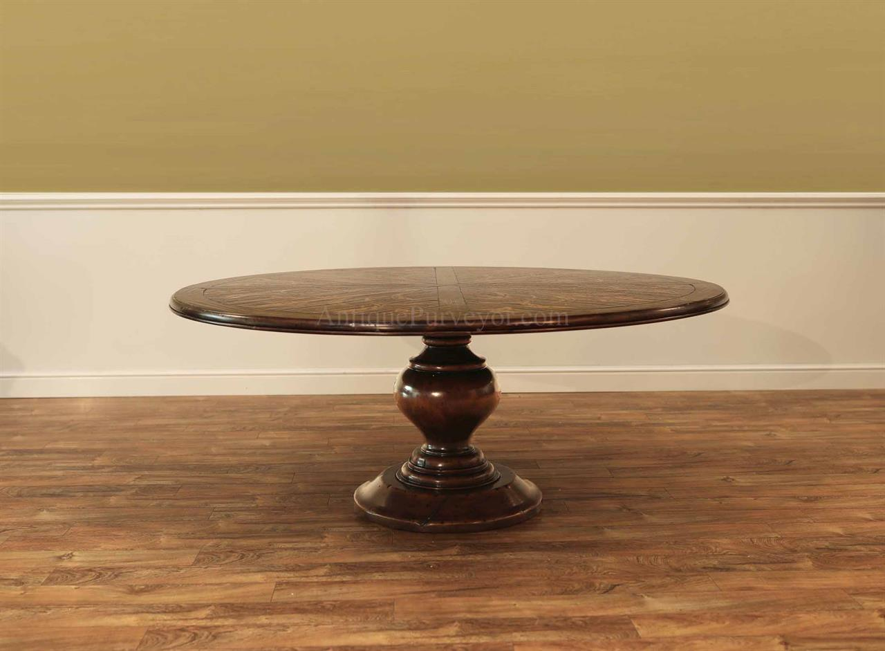 72 Inch Round Pedestal Table With Fl Decorated Top Villa Dining