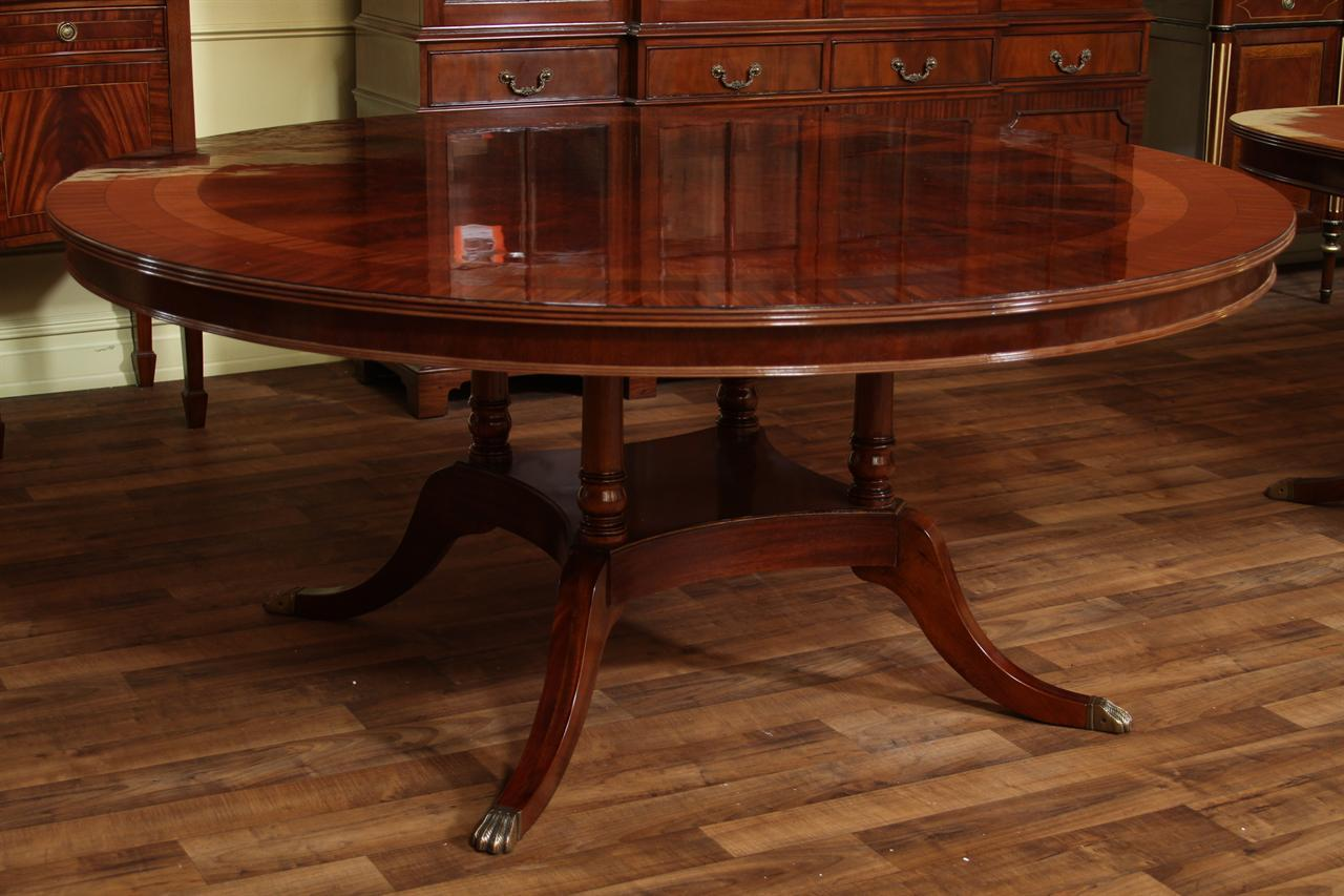 72 high end round mahogany dining table with duncan phyfe for Circular dining table