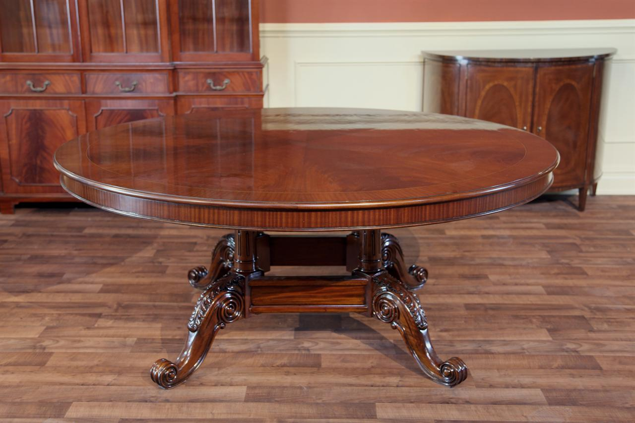 72 round dining table - 72 Round Mahogany Dining Table Formal Dining Table In Walnut Finish
