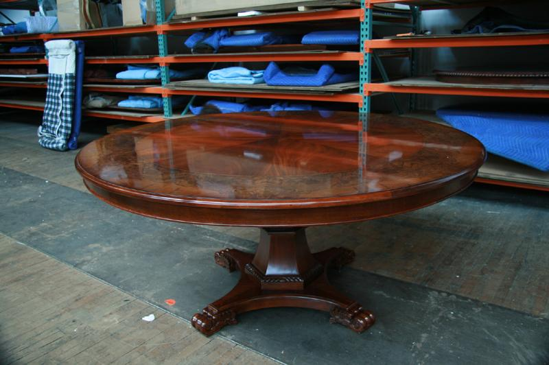 "72"" Round Walnut & Mahogany Dining Room Pedestal Table"