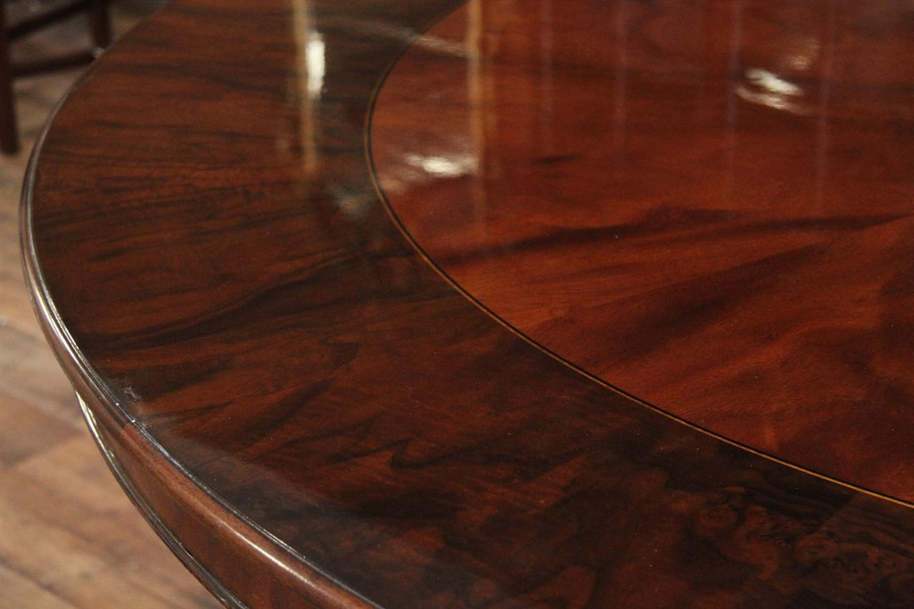 72 Round Mahogany Dining Table With Burled Walnut Banding