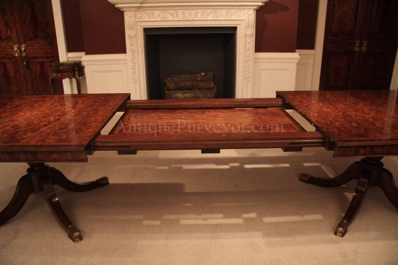 Mahogany dining table with self storing leaves - 12 Foot Mahogany Dining Table With Self Storing Leaves Seats 14