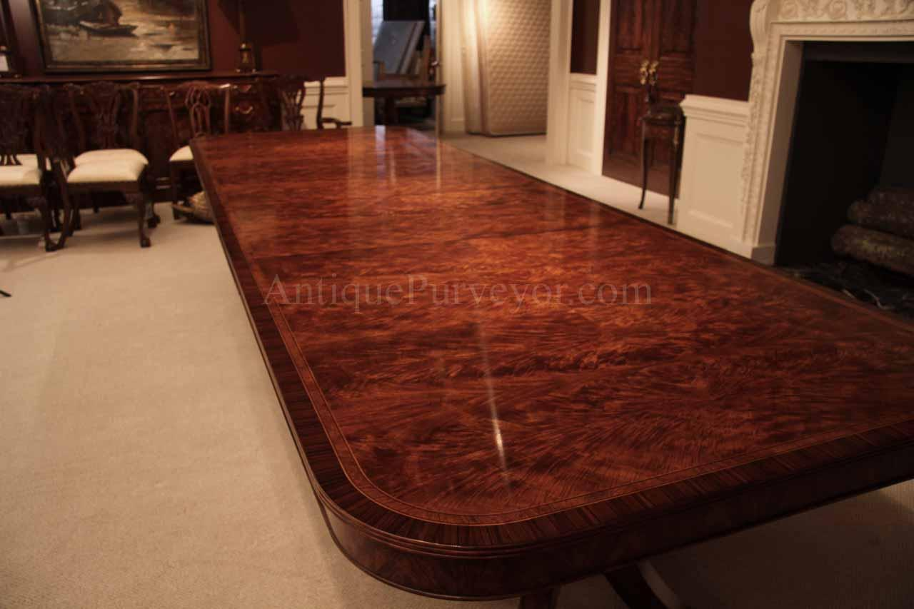 12 Foot Mahogany Dining Table with Self Storing Leaves Seats 14