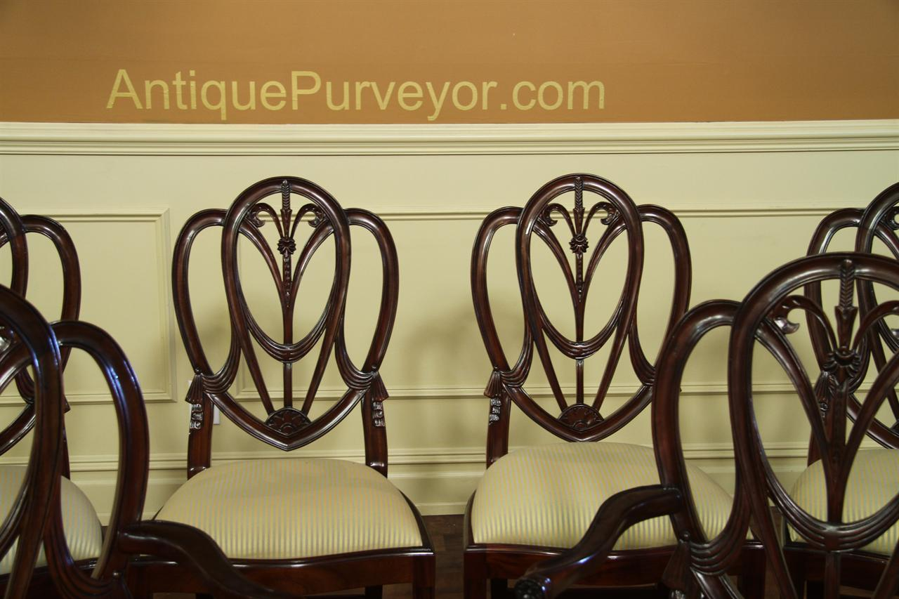 8 to 12 Solid Mahogany Shield Back Dining Room Chairs