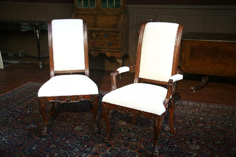 8 Upholstered Dining Chairs Paw Foot Regency Only 2 Arms