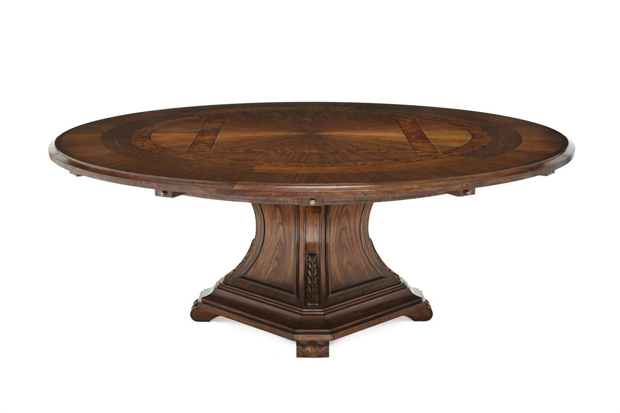 Large round mahogany and walnut perimeter table for Round dining room tables
