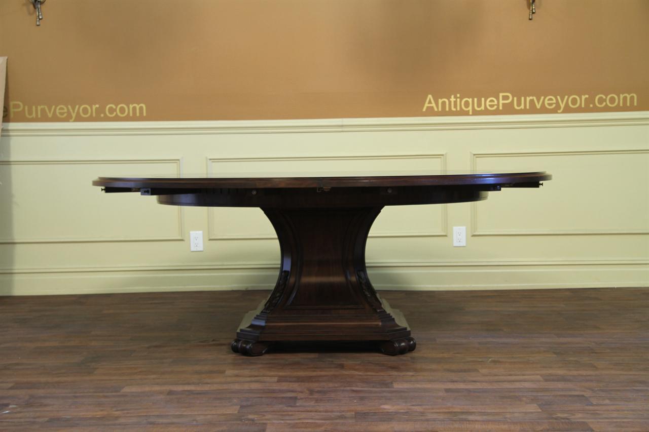Large Round Mahogany And Walnut Perimeter Table