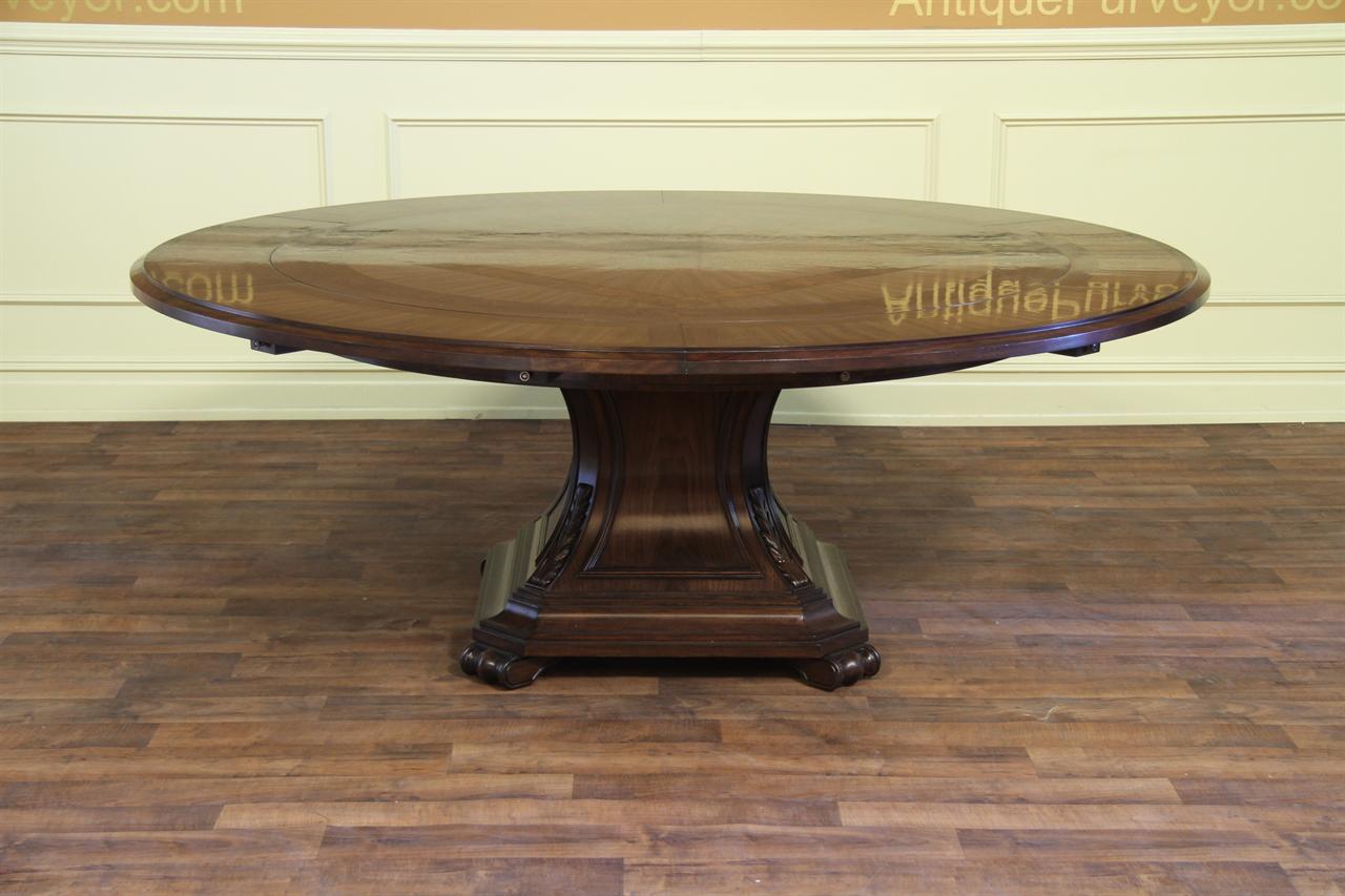 Large Round Mahogany and Walnut Perimeter Table : 80 round perimeter leaf dining room table walnut and mahogany 13176 from www.antiquepurveyor.com size 1280 x 853 jpeg 103kB