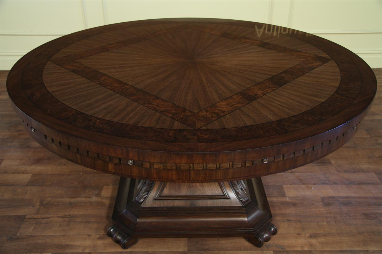 Round Walnut And Mahogany Dining Room Table With Perimeter Leaves