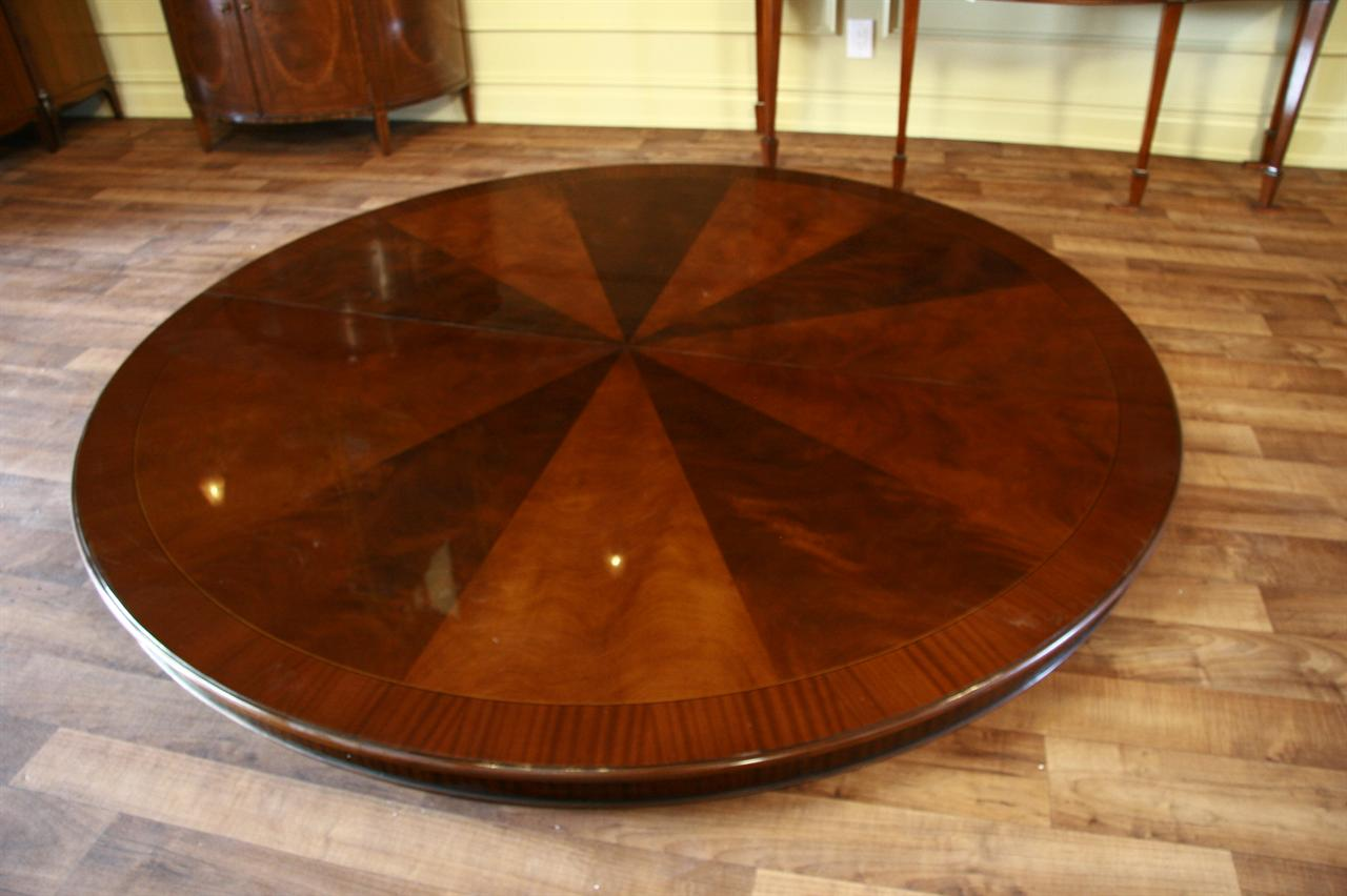 84 high end large round mahogany dining table antique for Large round dining table