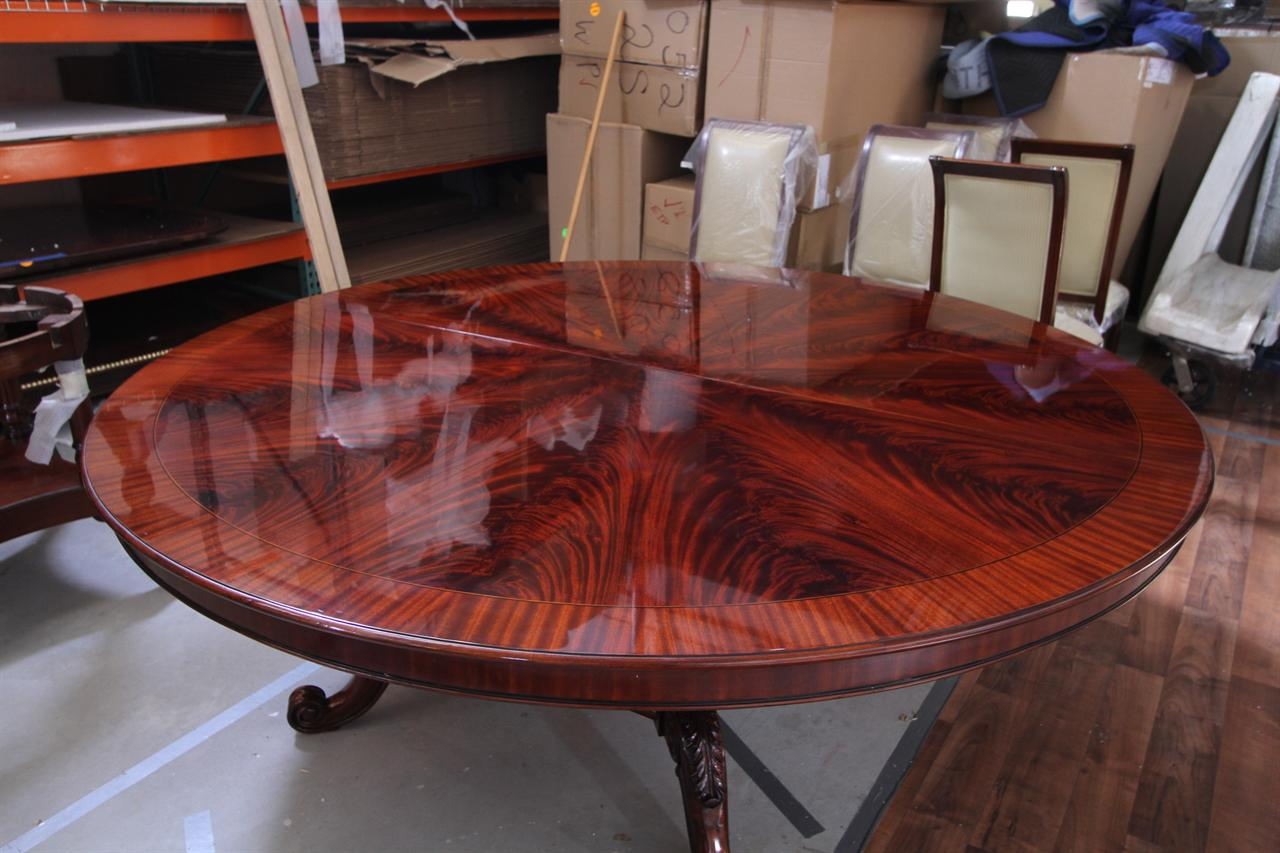 84 high end large round mahogany dining table antique. Black Bedroom Furniture Sets. Home Design Ideas