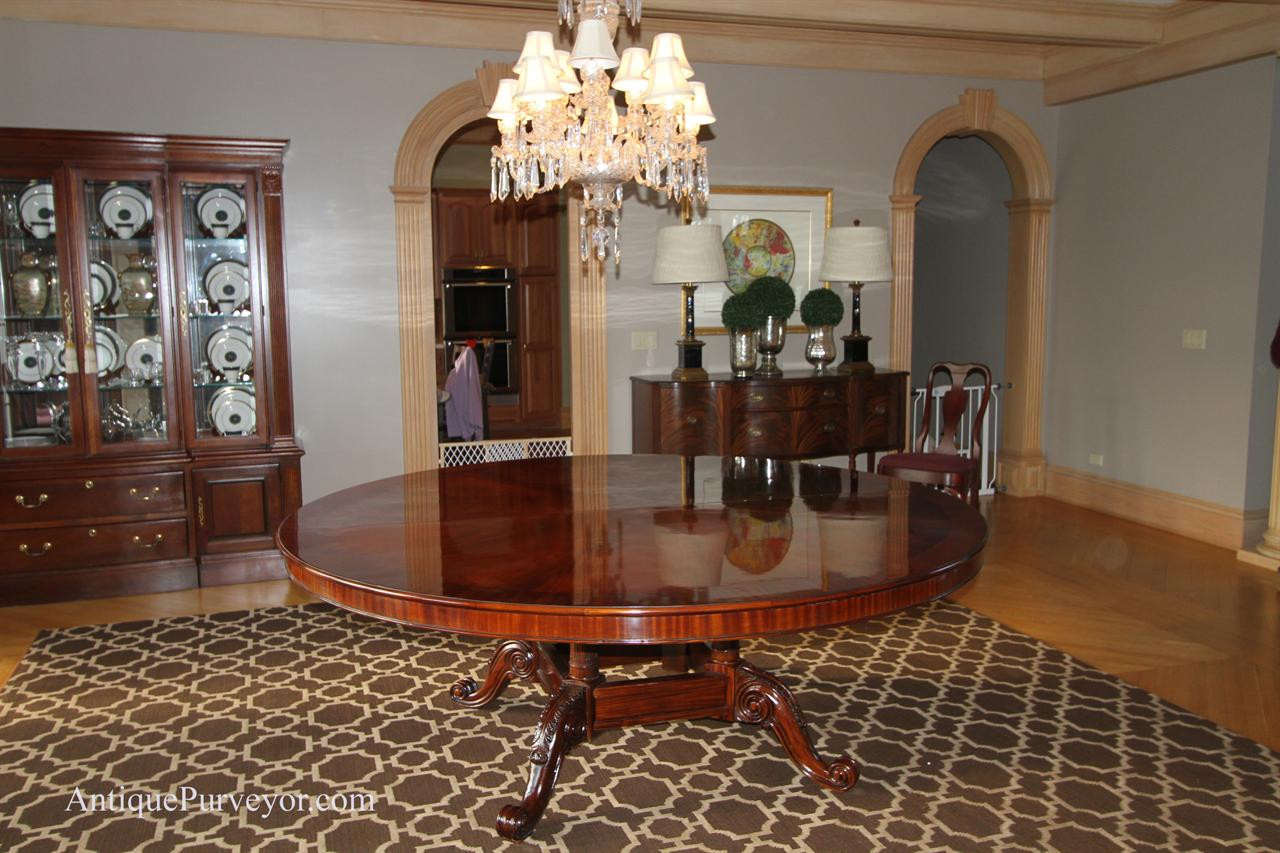 84 high end large round brown mahogany dining table for Large dining room table