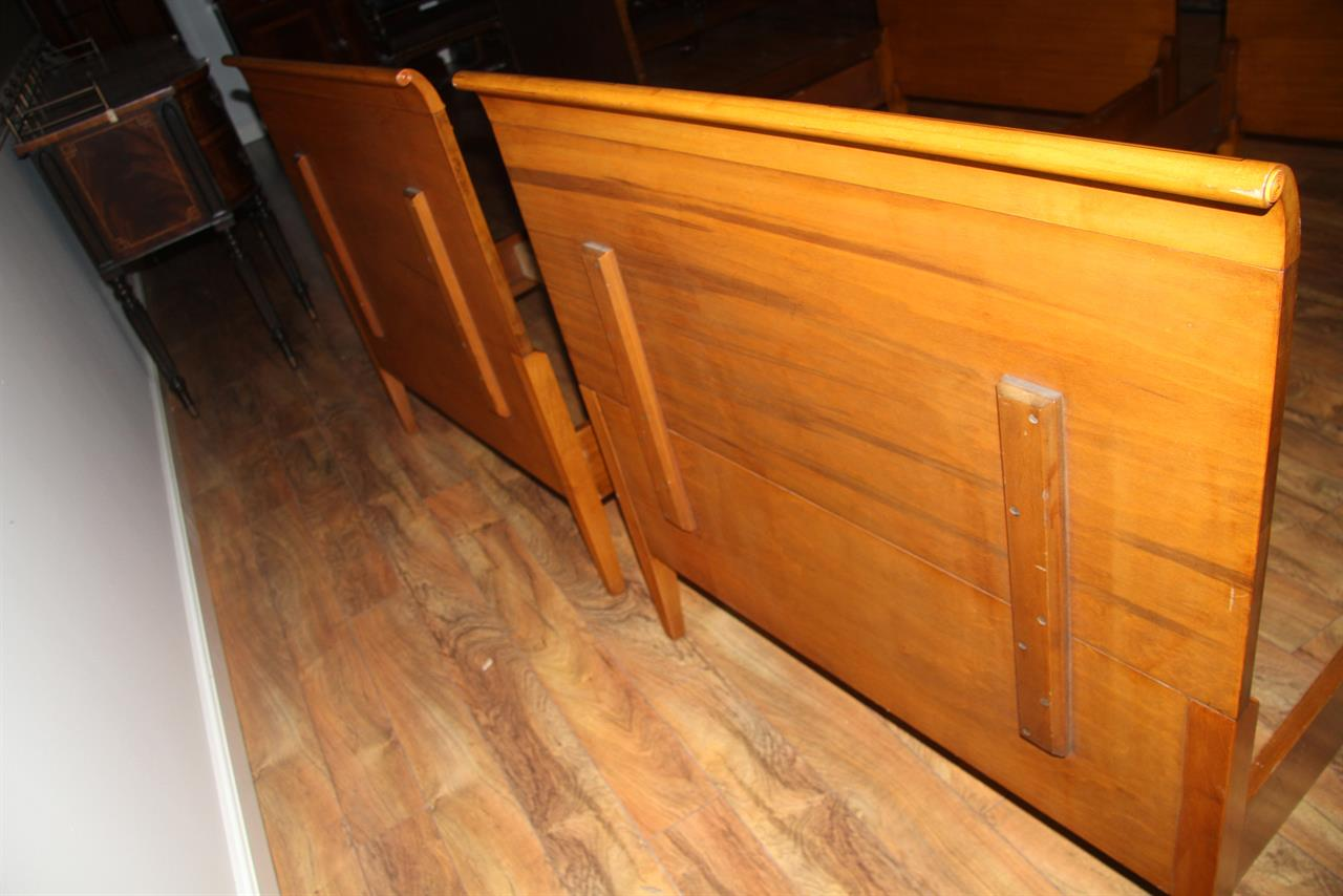 1950s vintage satinwood twin beds made in camden nj - Antique Twin Bed Frame