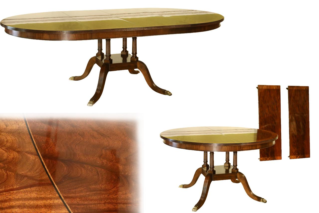 Traditional american made round to oval mahogany pedestal for 10 person round table