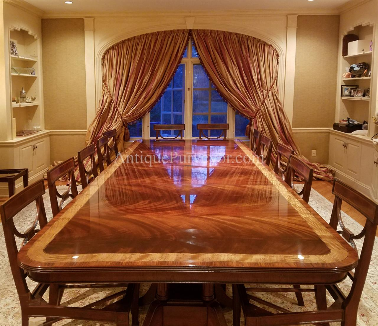 American Made Mahogany Dining Table With Leaves Seats 12 To 16 People