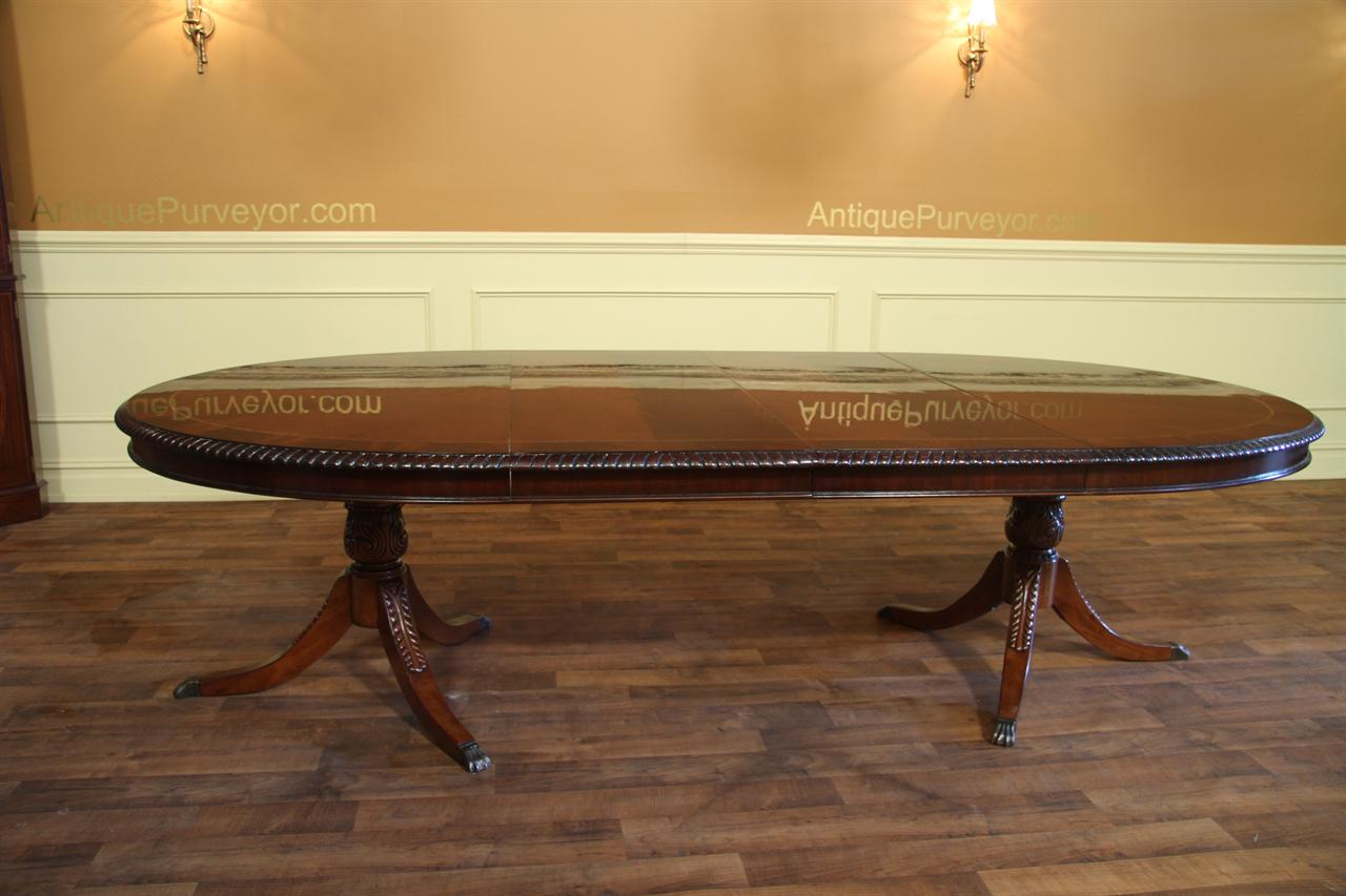 American Made Oval Double Pedestal Mahogany Dining Table