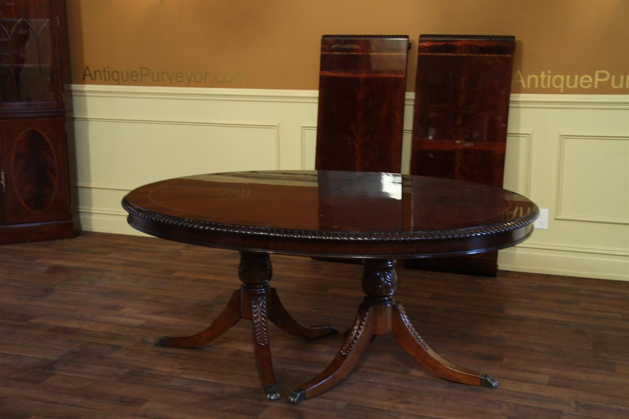 Oval double pedestal dining table american made for Oval pedestal dining table