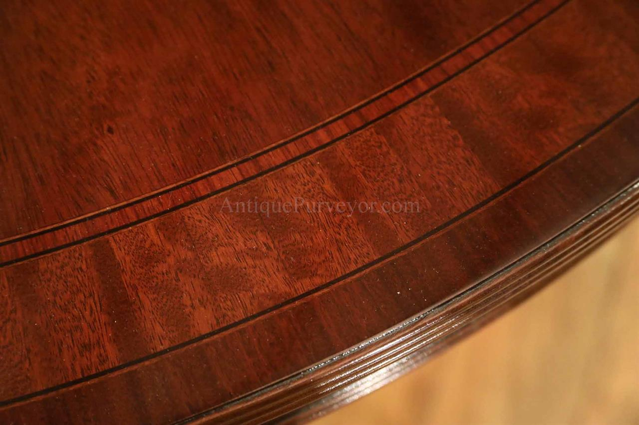 American Made Round To Oval Mahogany Dining Table With Leaves