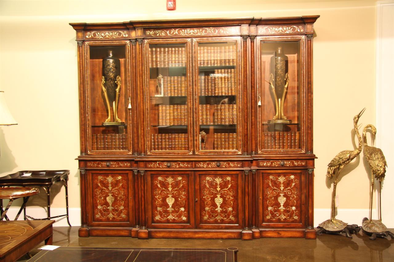 antique empire mahogany china cabinet or bookcase