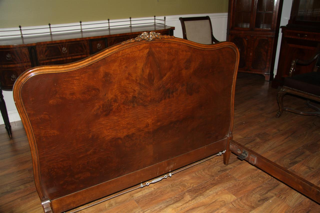 Antique french walnut full size bed frame by john for Full size bed frame