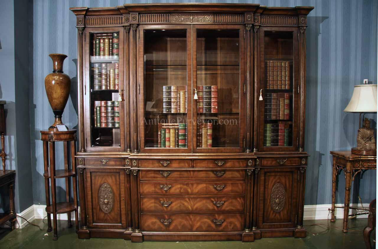- Antique Mahogany China Cabinet And Bookcase