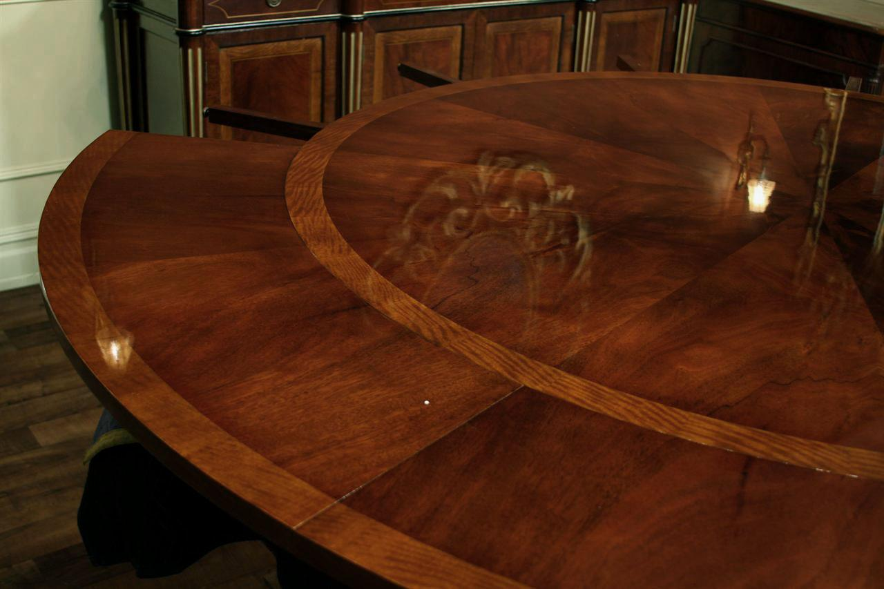 Round Expandable Dining Table Reproduction With Simple Mahogany Field And Satinwood