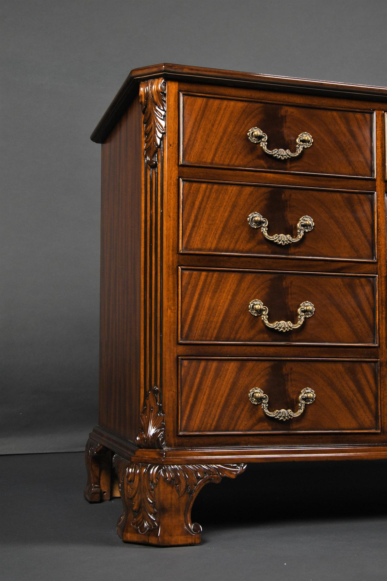 Mahogany dresser with hand carved details for Reproduction bedroom furniture