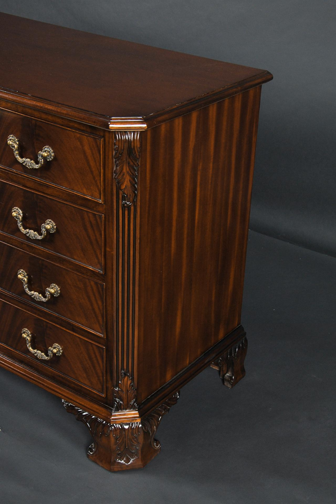 Mahogany Dresser With Hand Carved Details
