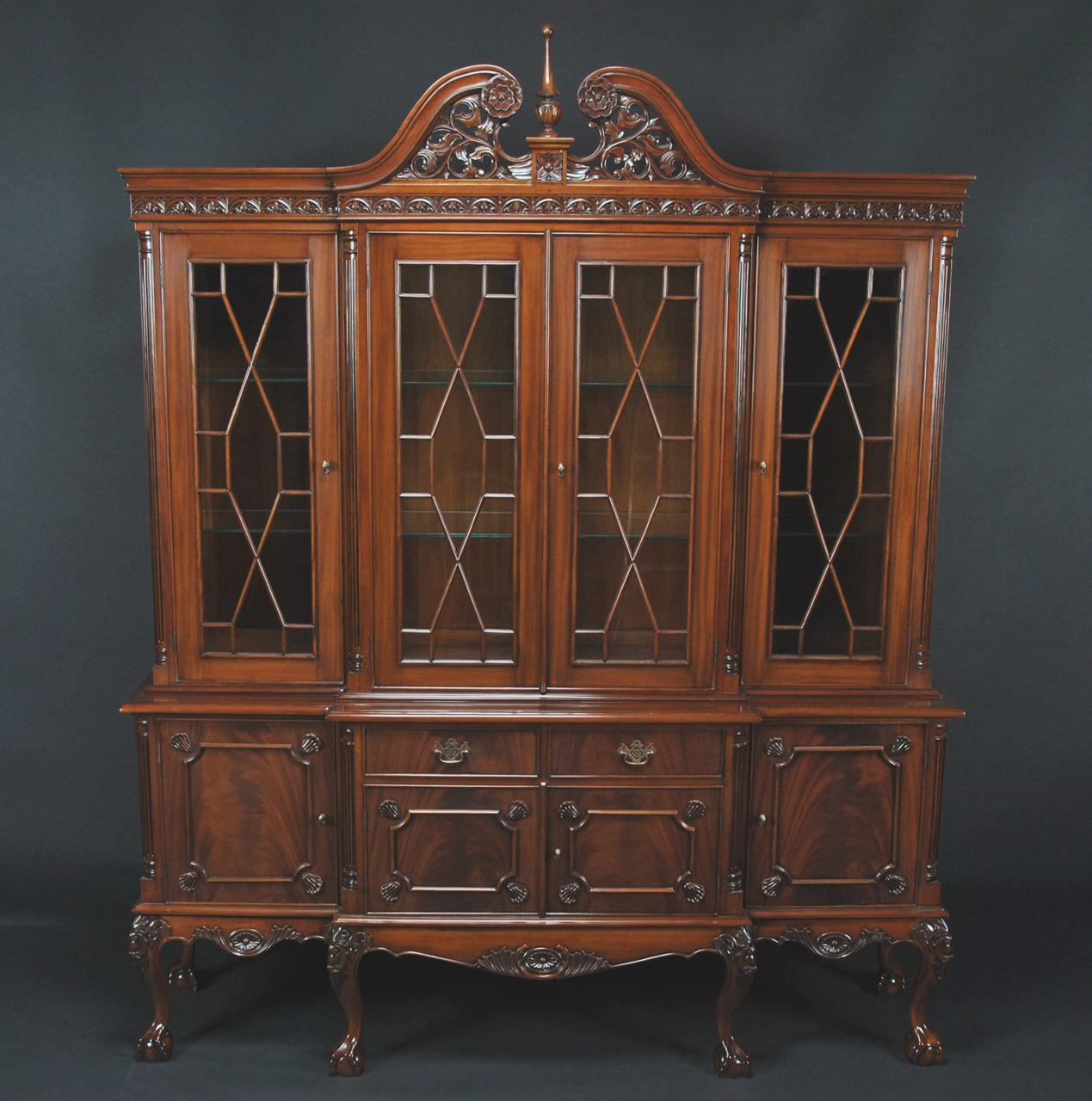 Chippendale China Cabinet Ball And Claw Flame Mahogany China Cabinet