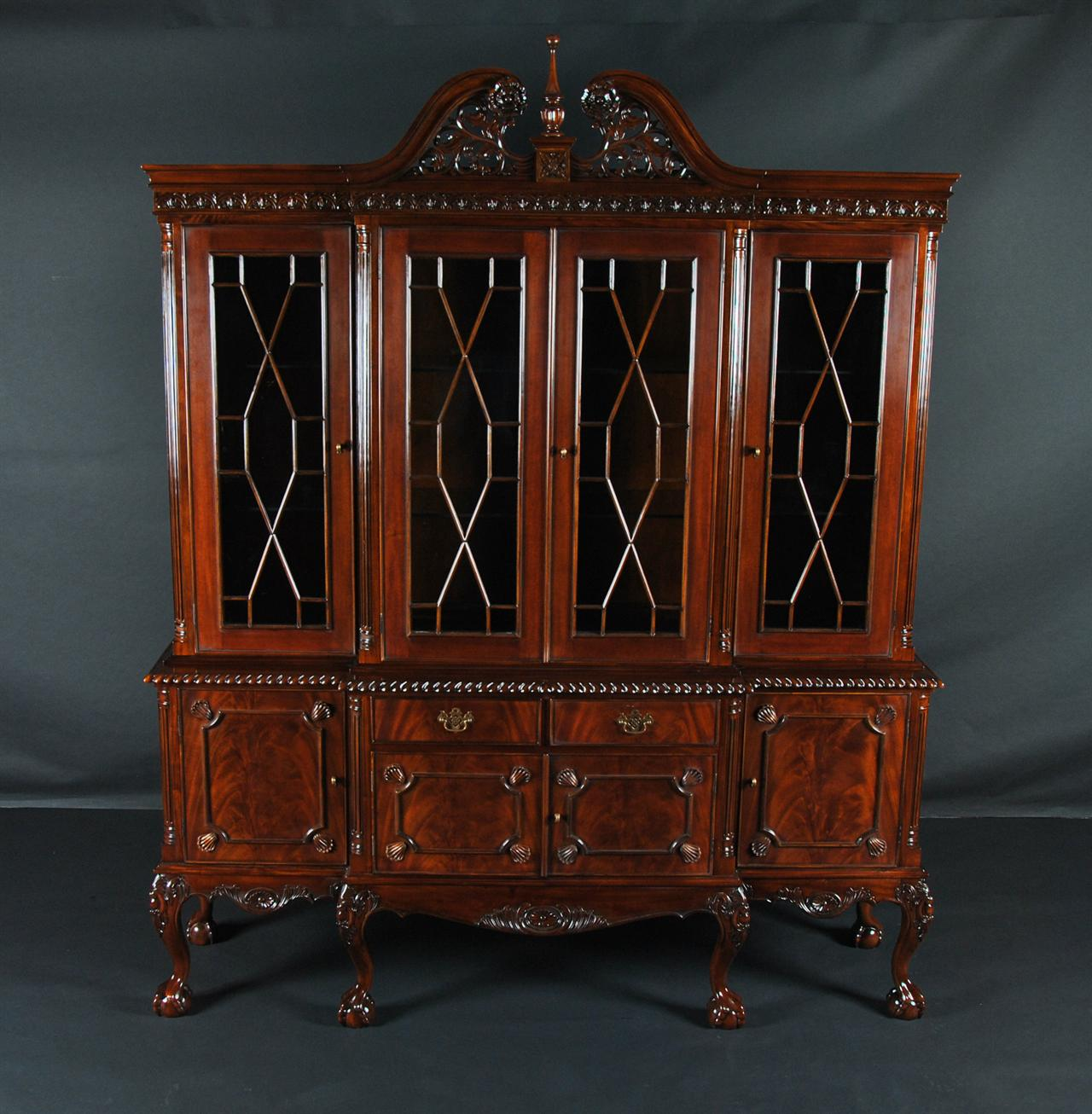 Ball & Claw Mahogany Dining Room China Cabinet with GADROON