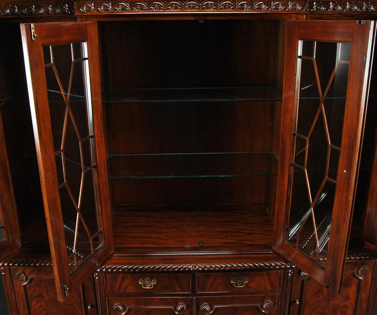 Ball Claw Mahogany Dining Room China Cabinet With GADROON
