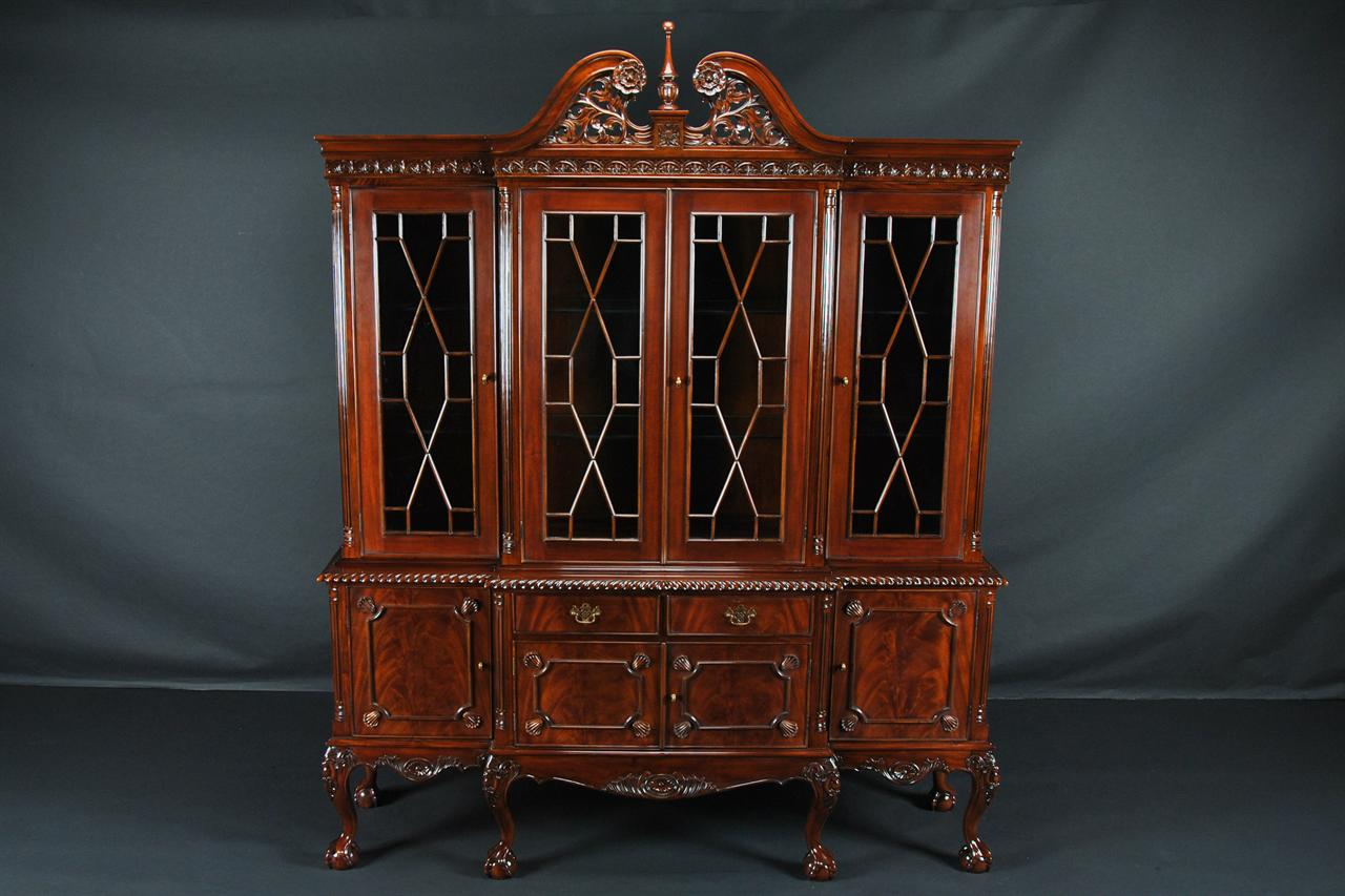 china cabinet above cabinet finished in natural red mahogany