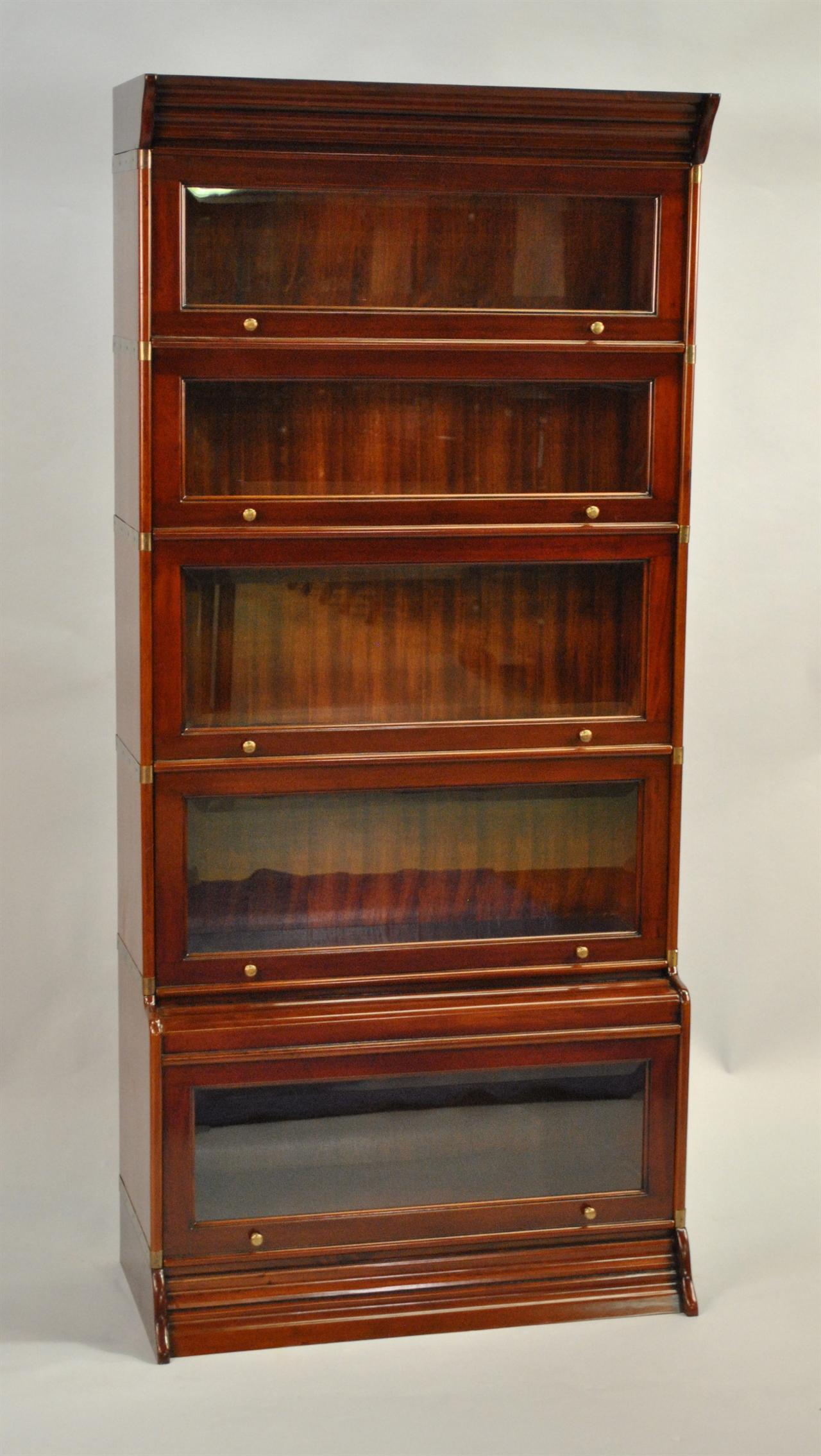 High End Furniture Mahogany And Br Detailed Reproduction Barrister Bookcase