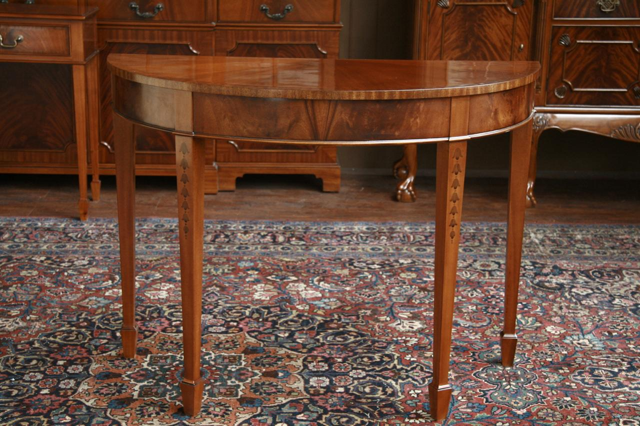 Bell Flower Inlaid Mahogany Banded Demilune Console
