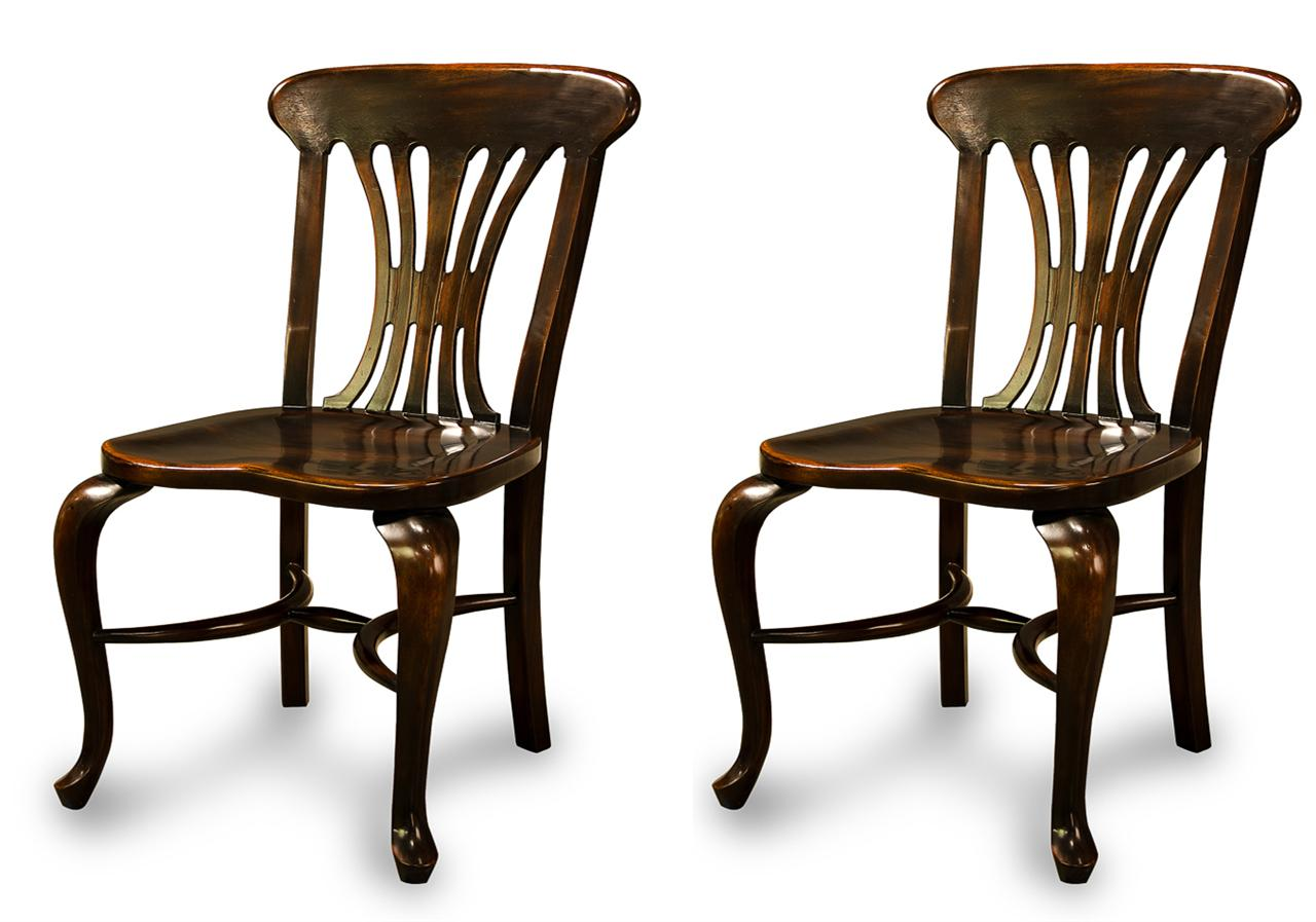 Black country chairs, solid walnut dining chairs