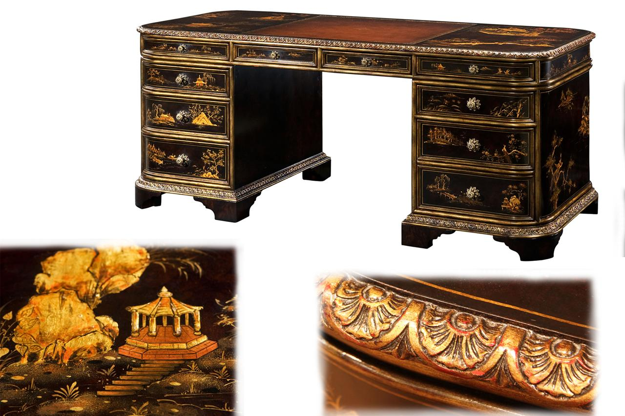 Victorian Style Chinoiserie Decorated Desk