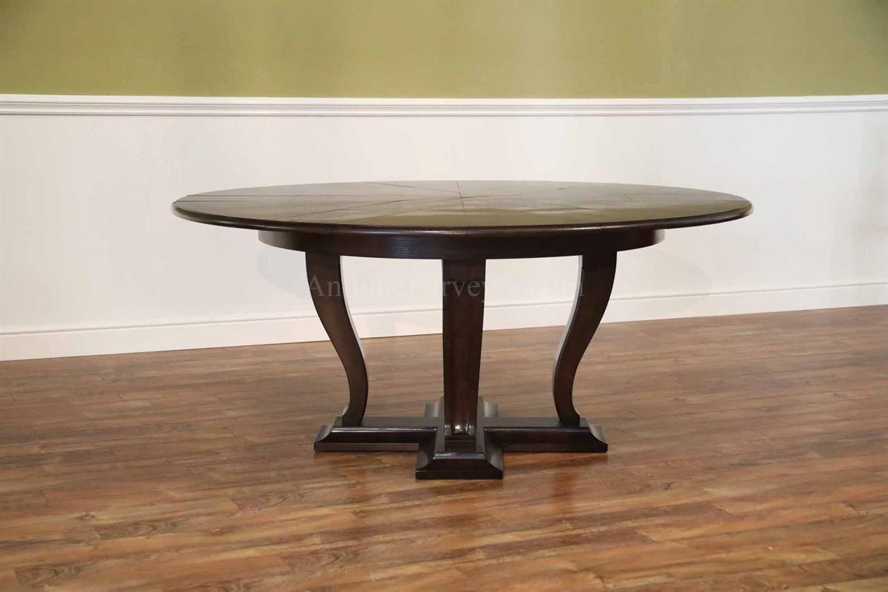 Modern Oak Jupe Table With Self Storing Leaves Round Transitional Pedestal
