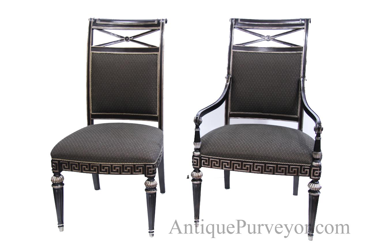 silver painted transitional upholstered dining room chairs high end