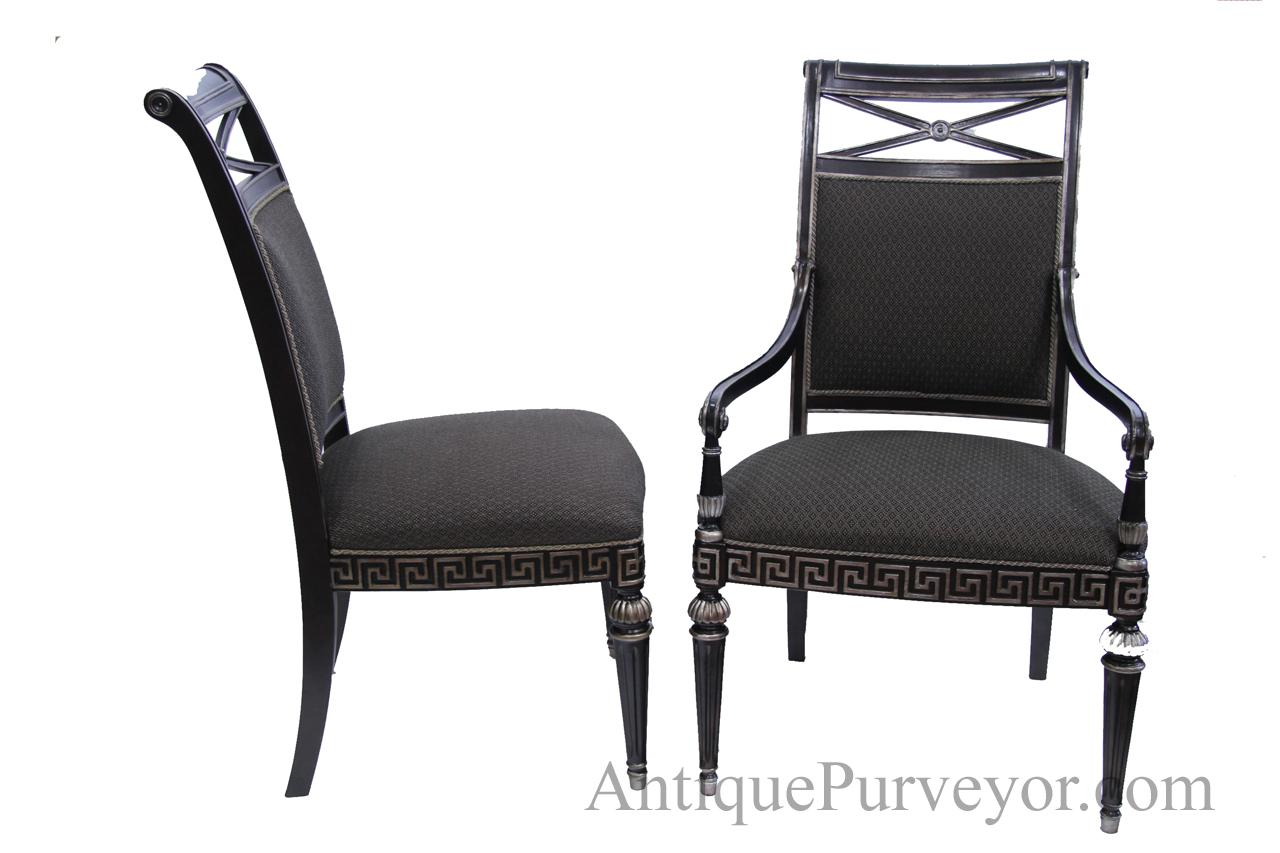 black silver painted transitional upholstered dining room chairs