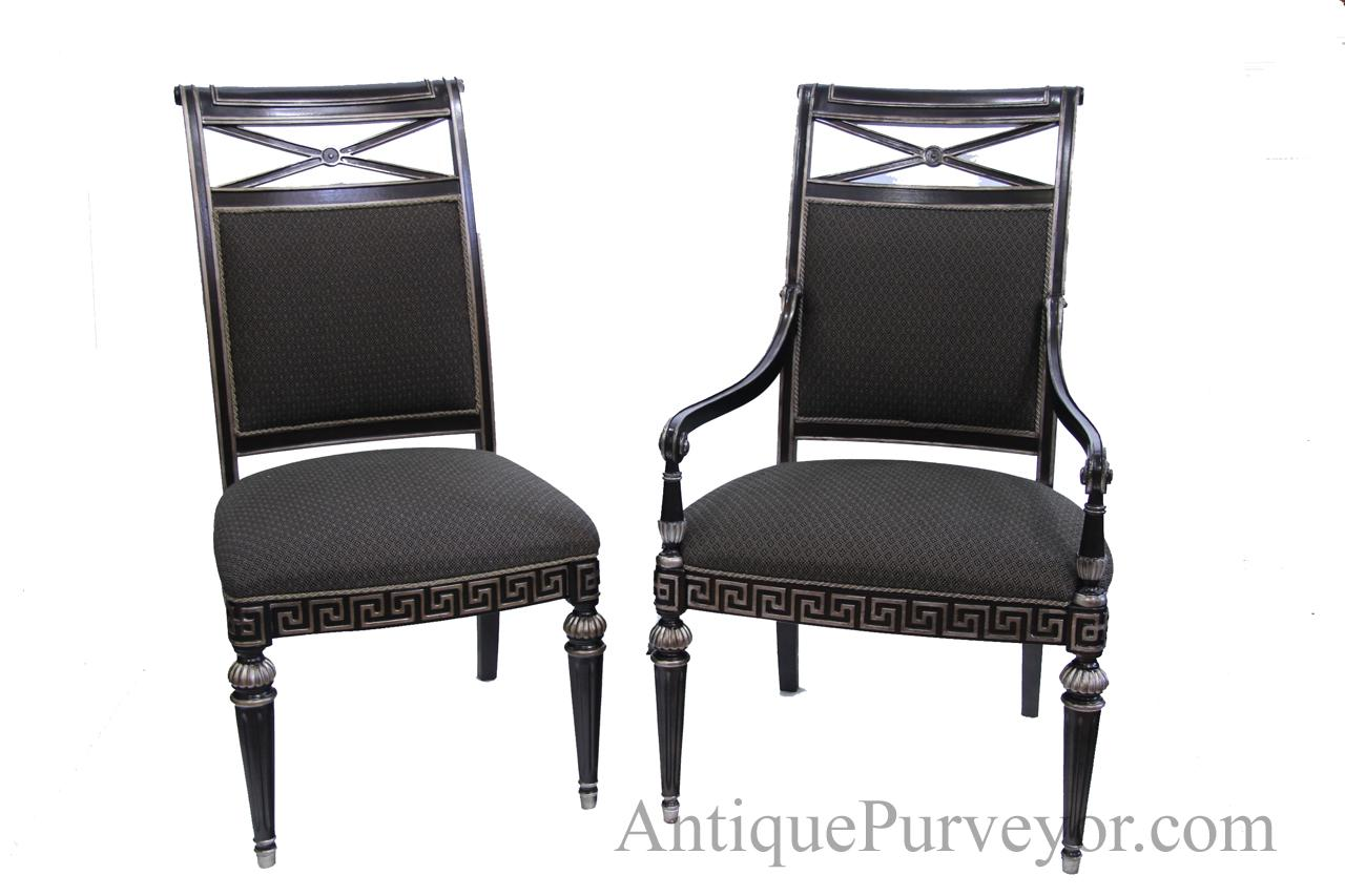 Black and silver designer upholstered dining room chairs for Black dining room chairs