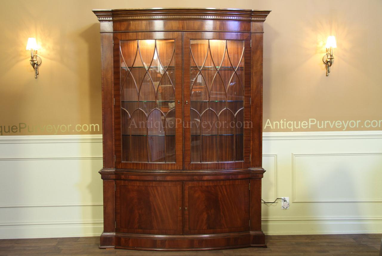 High End Bow Front Mahogany China Cabinet Or Curio